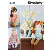 Simplicity Crafts Easy Sewing Pattern 8402 Stuffed Toy Dolls & Doll Clothes