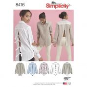 Simplicity Ladies Sewing Pattern 8416 Shirt Tops with Back Variations