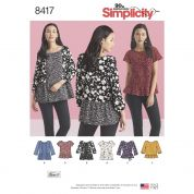 Simplicity Ladies Easy Sewing Pattern 8417 Pullover Tops with Sleeve Variations