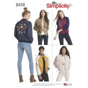 Simplicity Ladies Sewing Pattern 8418 Lined Bomber Jackets