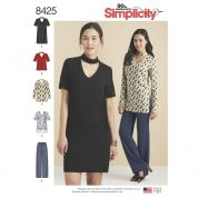 Simplicity Ladies Sewing Pattern 8425 Choker Collar Dress, Tunic & Top with Pants