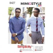 Simplicity Mens Sewing Pattern 8427 Fitted Shirt with Collar & Cuff Variations