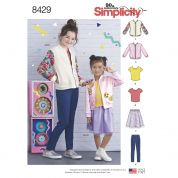 Simplicity Girls Sewing Pattern 8429 Bomber Jacket, Skirt, Leggings & Top