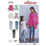 Simplicity Girls Easy Sewing Pattern 8430 Knit Tunic Tops & Leggings