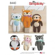 Simplicity Craft Easy Sewing Pattern 8440 Stuffed Animal Soft Toys