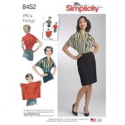 Simplicity Ladies Easy Sewing Pattern 8452 1950s Vintage Style Knit Blouse
