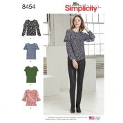 Simplicity Ladies Sewing Pattern 8454 Tops with Sleeve & Flounce Variations