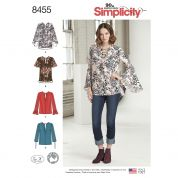 Simplicity Ladies Sewing Pattern 8455 Blouses with Length & Sleeve Variations