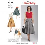 Simplicity Ladies Sewing Pattern 8458 1950s Vintage Style Skirts