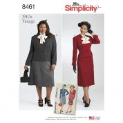 Simplicity Ladies Sewing Pattern 8461 1940s Vintage Style Two Piece Suit & Dickey