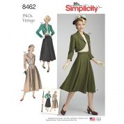 Simplicity Ladies Sewing Pattern 8462 1940's Vintage Style Blouse, Skirt & Bolero