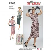 Simplicity Ladies Sewing Pattern 8463 1940s Vintage Style Top, Skirt & Belt