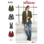Simplicity Ladies Sewing Pattern 8468 Unlined Jacket, Waistcoat & Belt