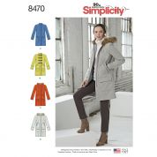 Simplicity Ladies Sewing Pattern 8470 Lined Coat with Collar, Hood & Pockets