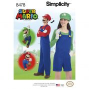 Simplicity Adults & Teens Sewing Pattern 8478 Super Mario Costumes