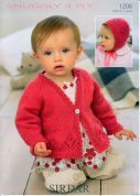 Sirdar Baby Cardigan & Bonnet Knitting Pattern 1206  4 Ply