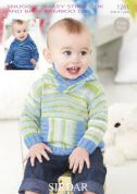 Sirdar Baby Hoodies Smiley Stripes Knitting Pattern 1261  DK