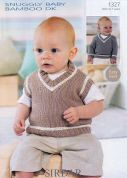 Sirdar Baby Sweater & Tank Top Knitting Pattern 1327  DK