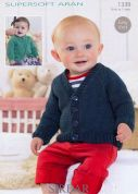 Sirdar Baby Cardigans Supersoft Knitting Pattern 1339  Aran