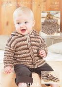 Sirdar Baby Jacket, Mittens & Blanket Smiley Stripes Knitting Pattern 1388  DK