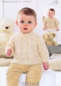 Sirdar Baby Sweaters Knitting Pattern 1398  4 Ply
