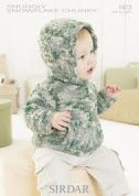 Sirdar Baby Hooded Sweater Snowflake Knitting Pattern 1413  Chunky