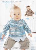 Sirdar Baby Sweater & Hoodie Smiley Stripes Knitting Pattern 1444  DK