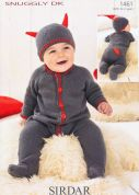 Sirdar Baby Devil All in One & Hat Knitting Pattern 1461  DK