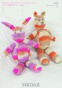 Sirdar Rabbit & Bear Toys Smiley Stripes Knitting Pattern 1480  DK