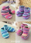 Sirdar Baby Shoes & Booties Baby Crofter Knitting Pattern 1483  DK