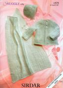 Sirdar Baby Matinee Coat, Hat & Blanket Knitting Pattern 1575  4 Ply