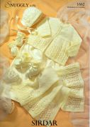 Sirdar Baby Matinee Coat, Hat, Shawl, Mittens & Booties Knitting Pattern 1662  4 Ply