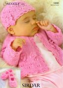 Sirdar Baby Cardigan, Hat & Shoes Knitting Pattern 1666  4 Ply