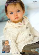 Sirdar Baby Hooded Coats Knitting Pattern 1733  DK