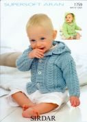 Sirdar Baby Hooded Jackets Supersoft Knitting Pattern 1759  Aran
