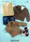Sirdar Baby Sweaters & Tank Top Knitting Pattern 1769  4 Ply
