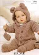 Sirdar Baby All-in-One Teddy Suit Snowflake Knitting Pattern 1774  Chunky