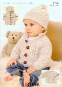 Sirdar Baby Jackets, Sweater & Hat Knitting Pattern 1776  DK