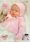 Sirdar Baby Cardigan, Bonnet, Mittens & Booties Knitting Pattern 1818  4 Ply