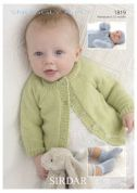 Sirdar Baby Cardigan, Hat, Mittens & Booties Knitting Pattern 1819  4 Ply