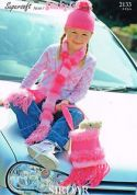Sirdar Girls Hat, Scarf & Bag Knitting Pattern 2133  DK, Aran