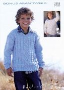 Hayfield Boys Sweaters Bonus Knitting Pattern 2353  Aran