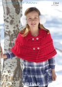 Sirdar Girls Cape Supersoft Knitting Pattern 2364  Aran