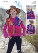Sirdar Girls Waistcoats Indie Knitting Pattern 2366  Super Chunky