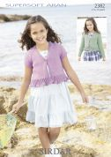 Sirdar Girls Cardigans Supersoft Knitting Pattern 2382  Aran