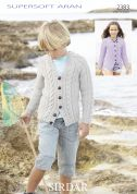 Sirdar Childrens Cardigans Supersoft Knitting Pattern 2383  Aran