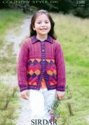 Sirdar Girls Cardigan Country Style Knitting Pattern 2386  DK