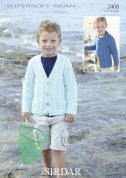 Sirdar Boys Cardigans Supersoft Knitting Pattern 2406  Aran