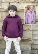 Hayfield Childrens Cardigan & Hoodie With Wool Knitting Pattern 2414  Chunky