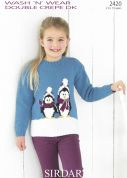 Sirdar Girls Christmas Sweater Wash 'n' Wear Knitting Pattern 2420  DK